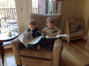 Baby Jonathan Reading with Friend