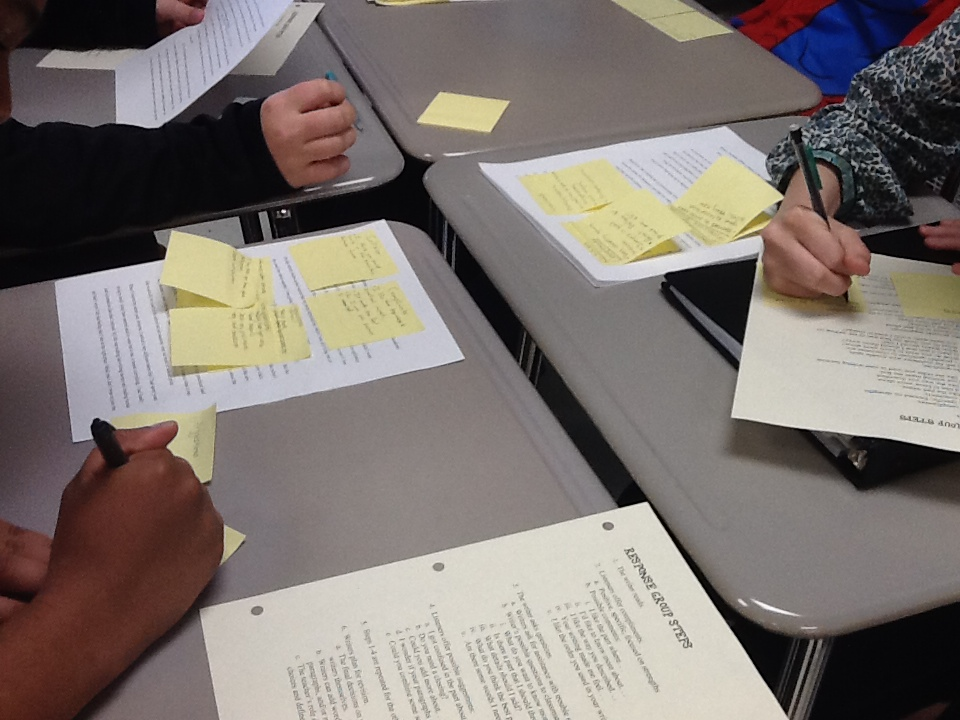 Group Writing Sticky Notes